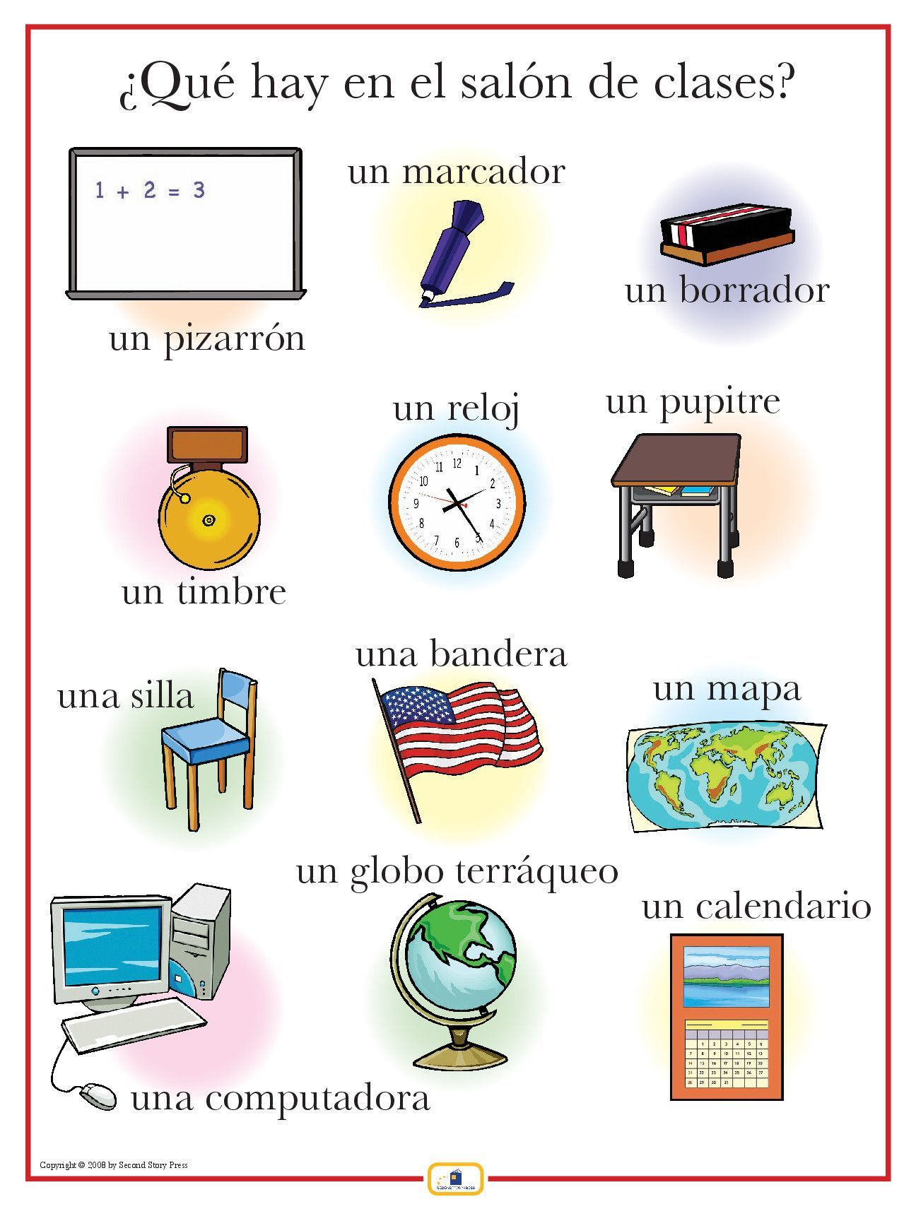 Spanish classroom items poster worksheets spanish for 10 objetos del salon en ingles