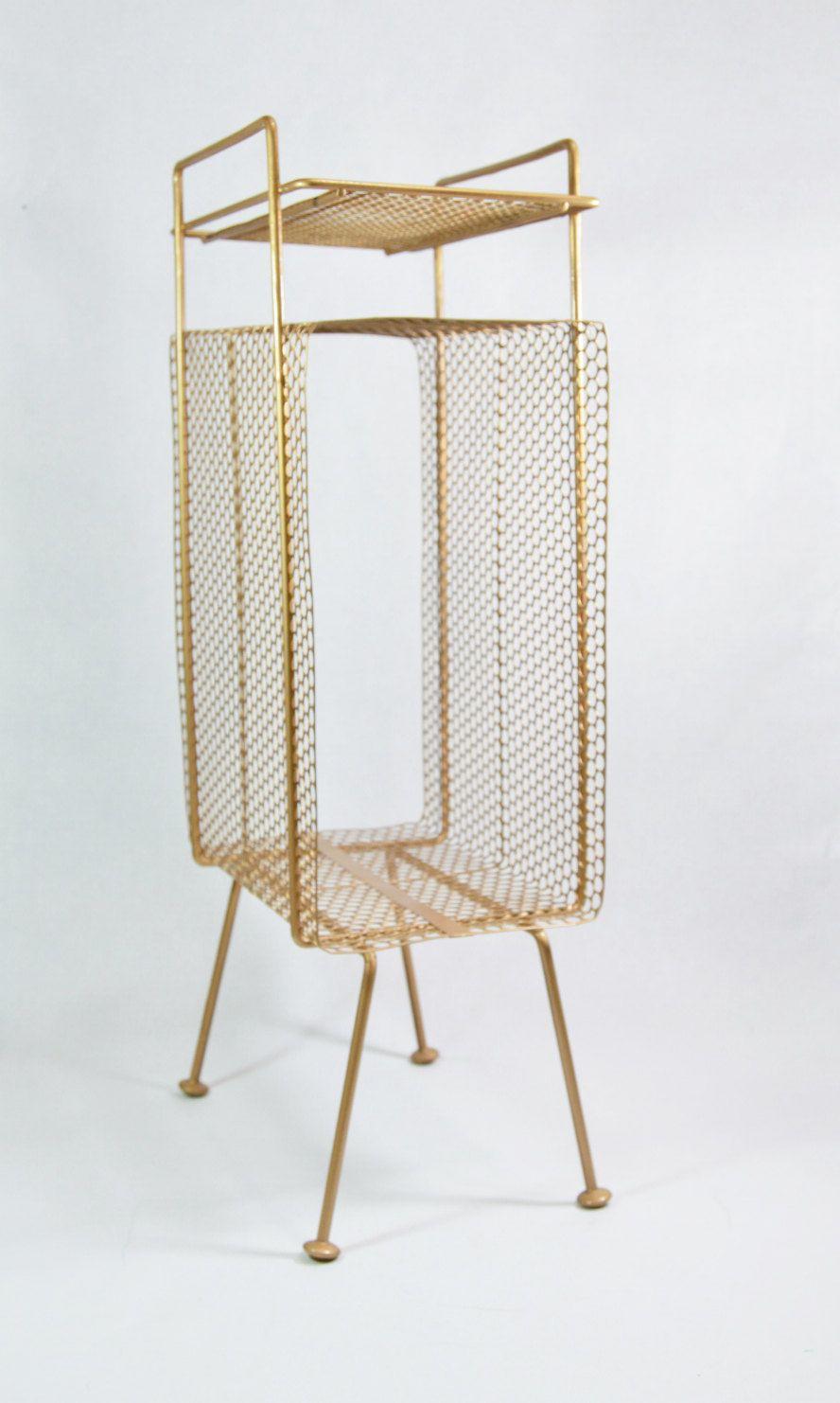 Mid Century Metal Mesh Telephone Stand Magazine Rack Gold Mesh Wire ...