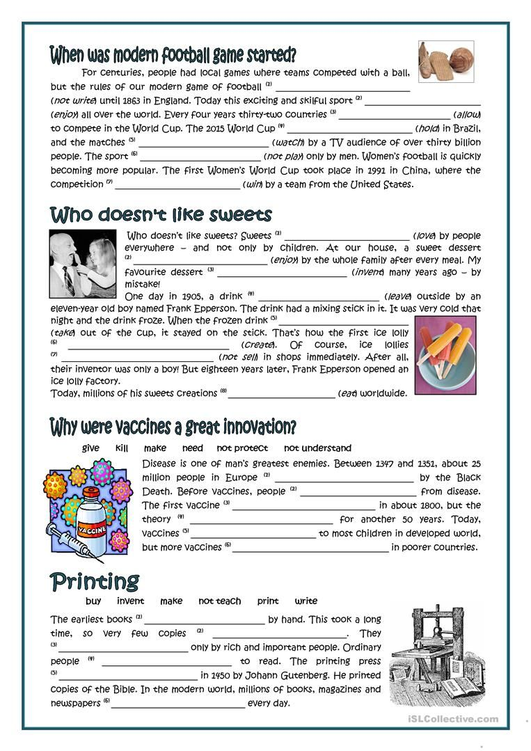 PASSIVE - INVENTORS AND INVENTIONS worksheet - Free ESL printable ...