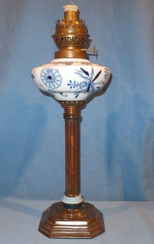 1860 - 1890 Flow Blue Porcelian  Table Oil Lamp