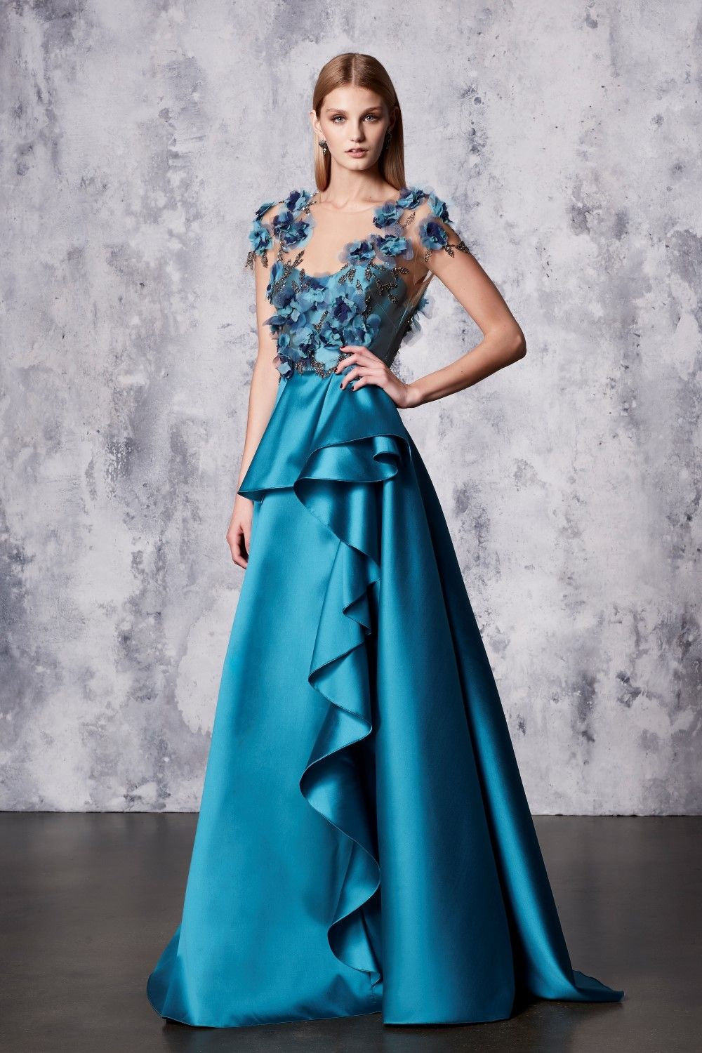 Marchesa Notte Blue Short Sleeve Mikado Ball Gown N18G0448 | Going ...