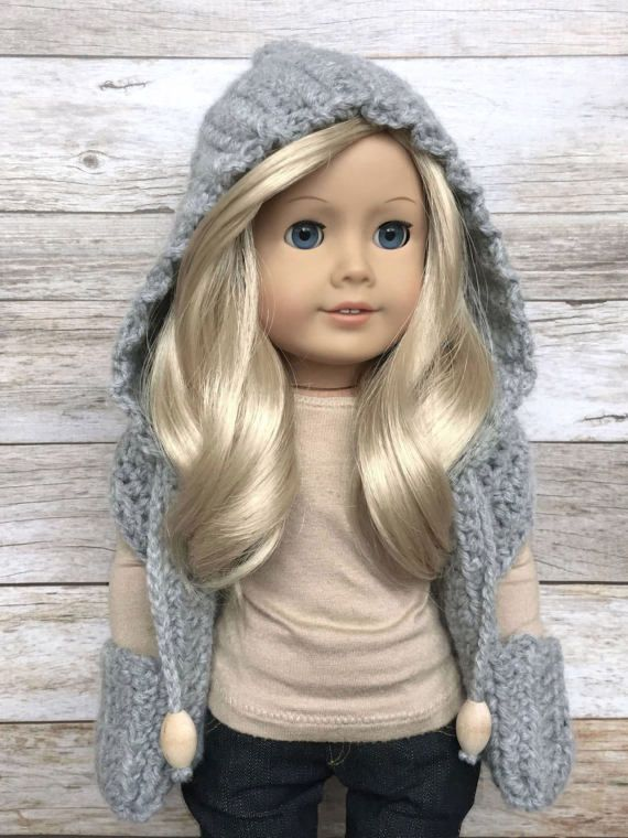 DIY Crochet Pattern - 18 inch Doll Hooded Pocket Scarf PDF 19 (Fits ...