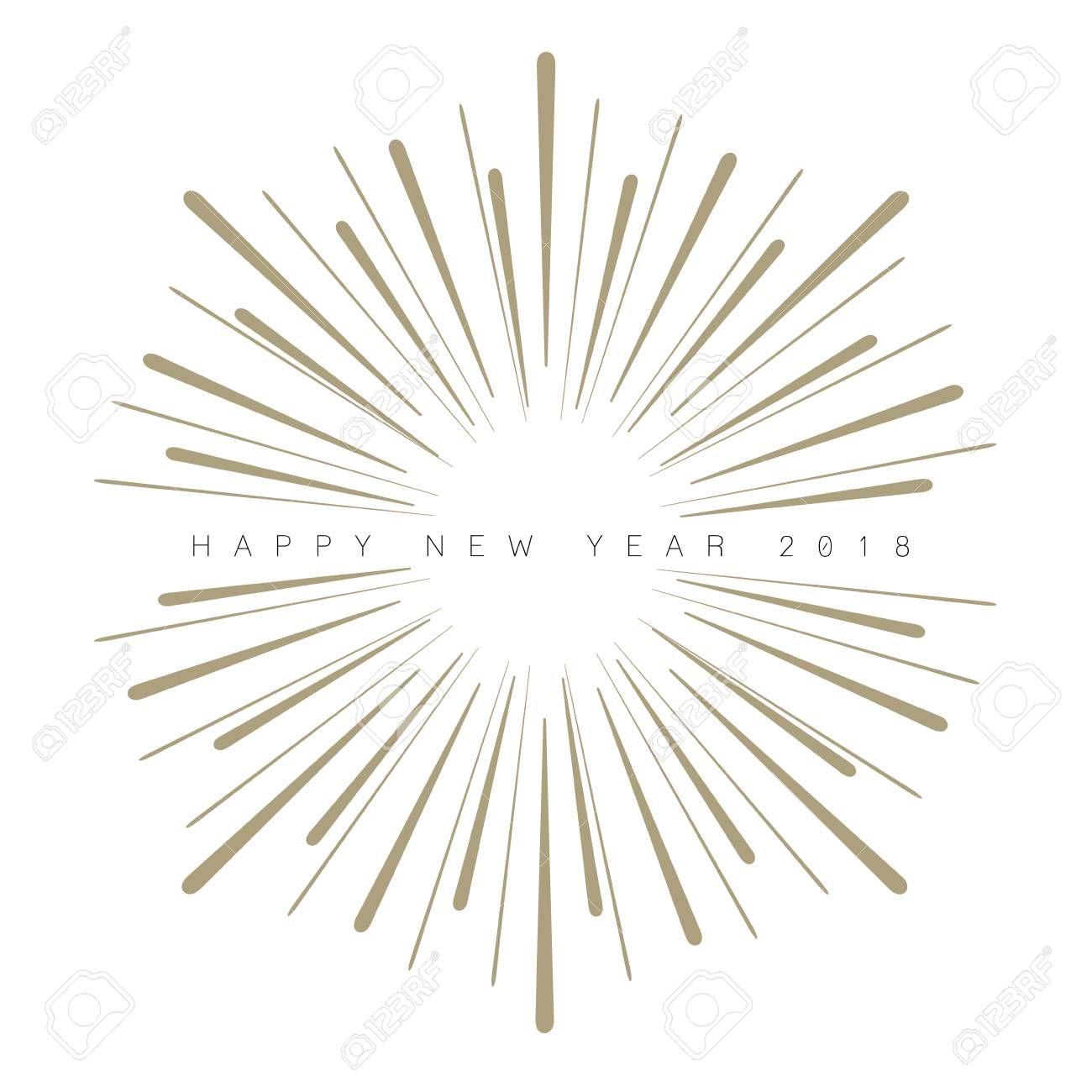 Happy New Year 2018 typography with explosive rays design illustration. ,  Sponsored,  typography,  Happy,  Year,  design,  illustration