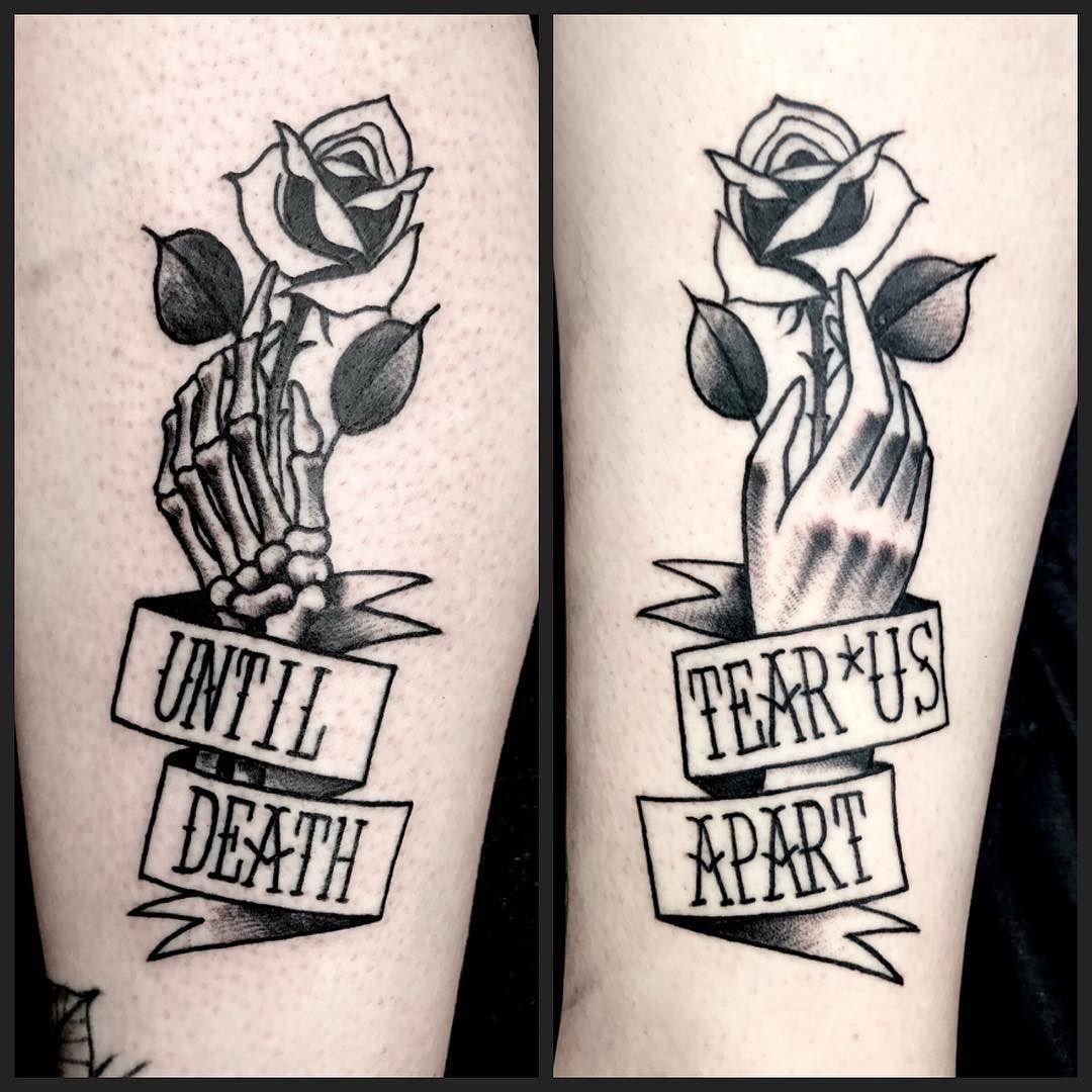 Did This Traditional Blackwork Untildeadtearusapart Skeleton Hand Rose Tattoo On 2 Amazing Popular Tattoos Couple Tattoos Unique Relationship Tattoos