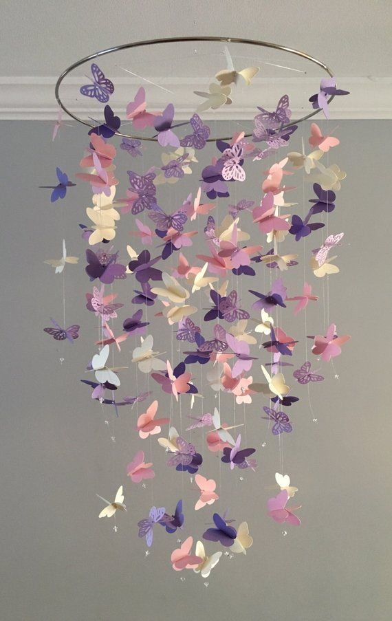 Butterfly Chandelier Mobile In Purple And Pink Mostly Solid