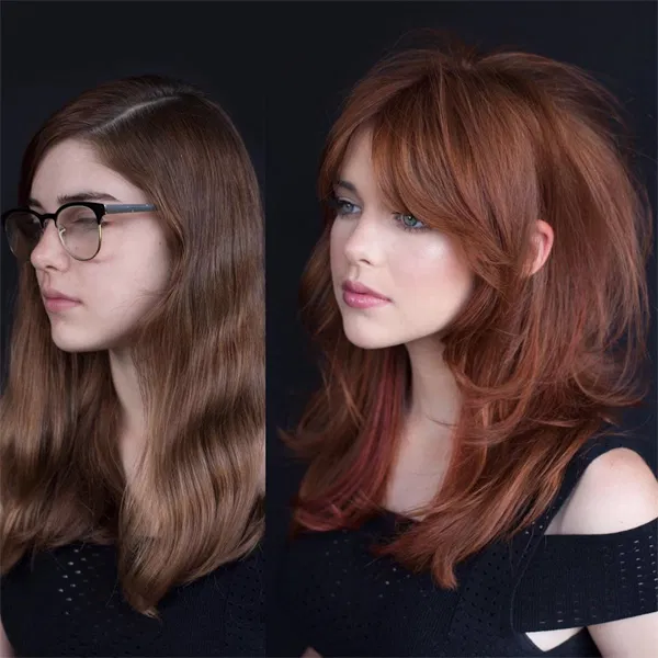 Rich Red + Modern Shag Cut How-To behindthechair.c