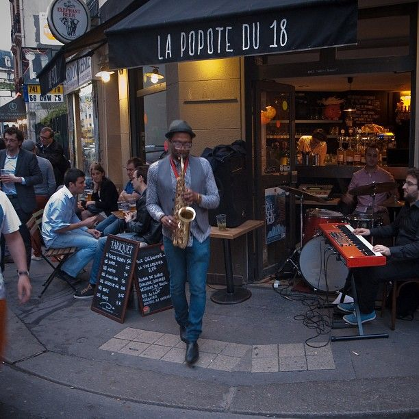 "Paris: A band plays music in front of a cafe as part of the 32nd edition of the music event ""Fete de la musique"" on June 21, 2013. The music celebration day takes place in the streets of France's towns every year since 1982 on the first day of summer. Photo by MATTHIEU ALEXANDRE. #Fetedelamusique #Paris #France #Culture #Music #Cafe #comissioncontentgroup http://comissioncontent.com"