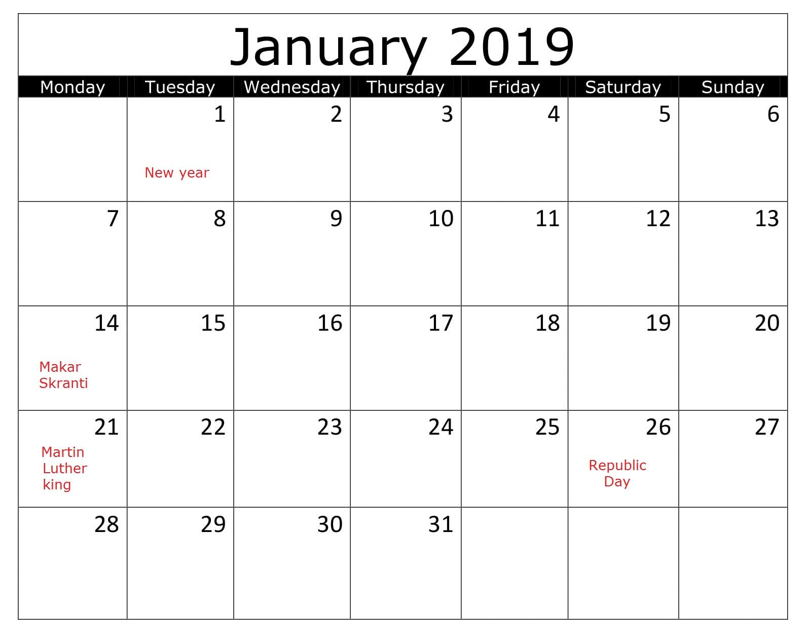 January 2019 With Holidays Excel Calendar Holiday Words Excel
