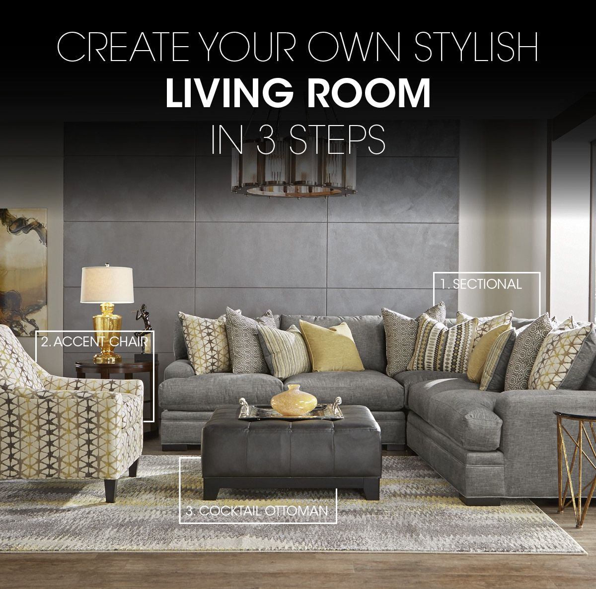Cindy Crawford Home Palm Springs Gray 3 Pc Sectional (With