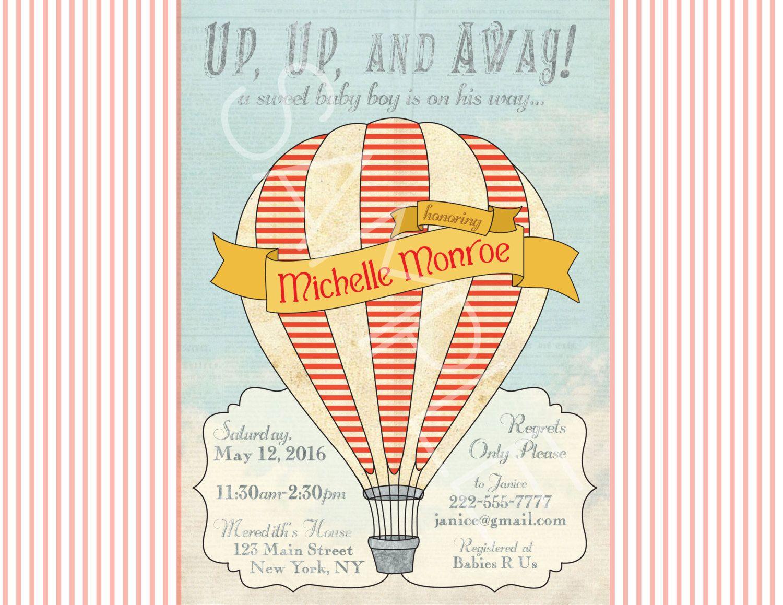 Vintage Hot Air Balloon Invitation Baby Shower Book Card ...