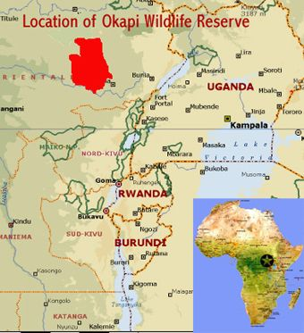 Map showing the location of the Okapi Wildlife Reserve world