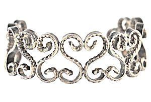 Sterling Silver Open-Work Heart Cuff Bracelet (Image1)
