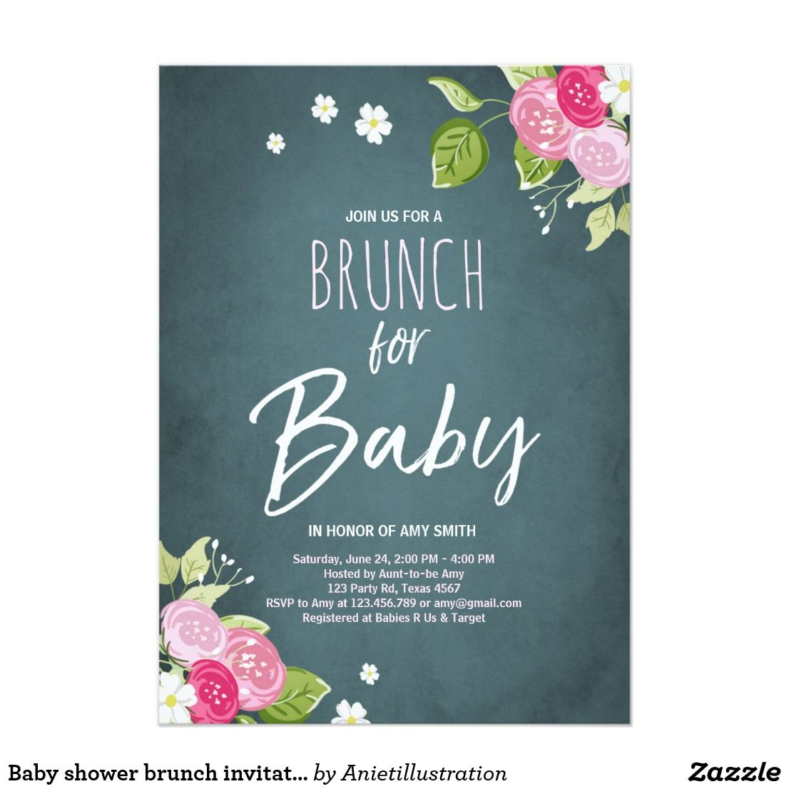Baby shower brunch invitation Floral Rustic Pink | Baby Shower ...