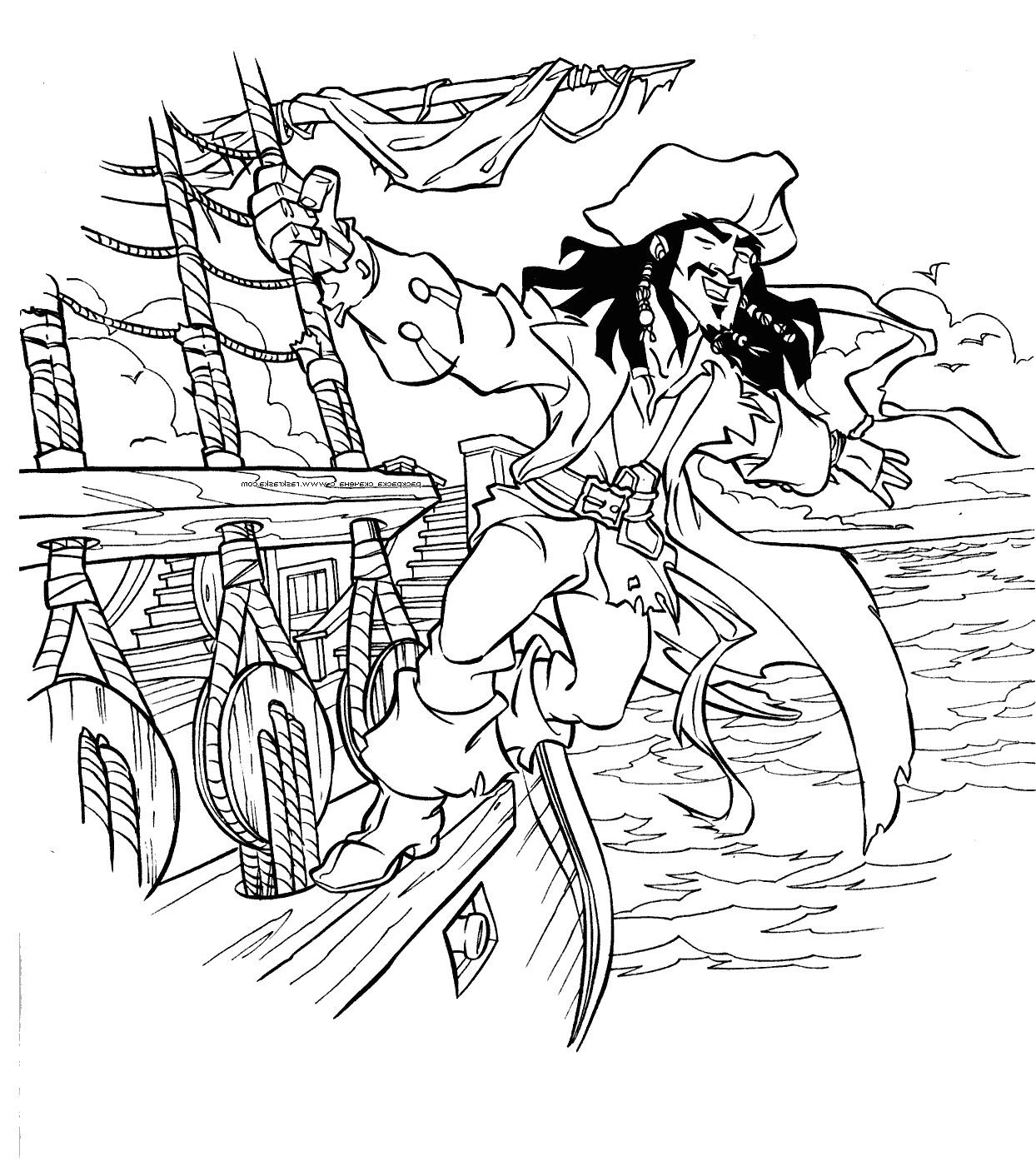Captain Jack Sparrow On Black Pearl Coloring Pages Pirate Coloring Pages Coloring Pages For Kids Coloring Pages
