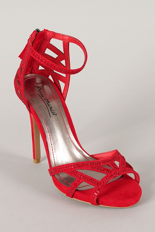 Anne Michelle Perton-08 Embellished Cut Out Open Toe Heel