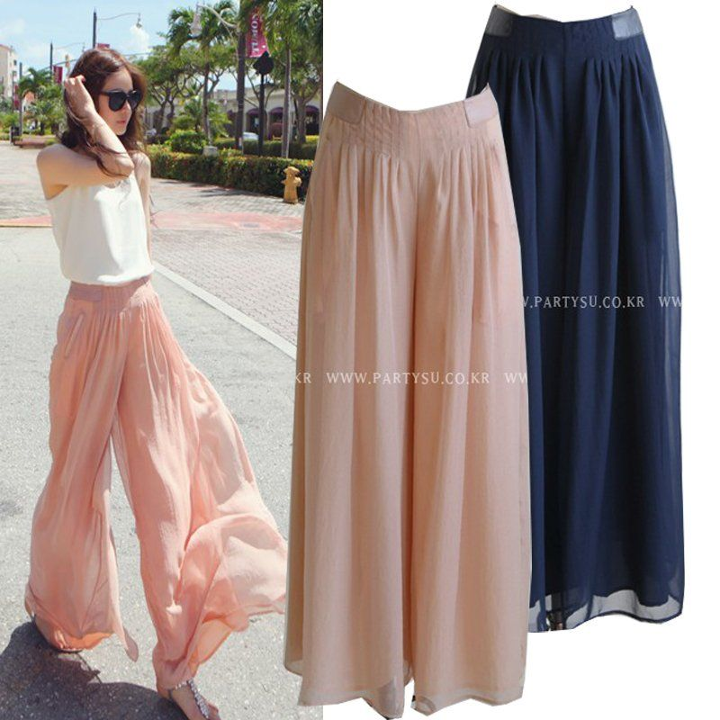 women European style Chiffon casual pleated loose wide leg pants ...