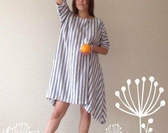 Linen Tunic Dress, Oversized Tunic, womens tunic, plus size tunic, linen tunics for women, linen dress with sleeves, natural linen dress #linentunic
