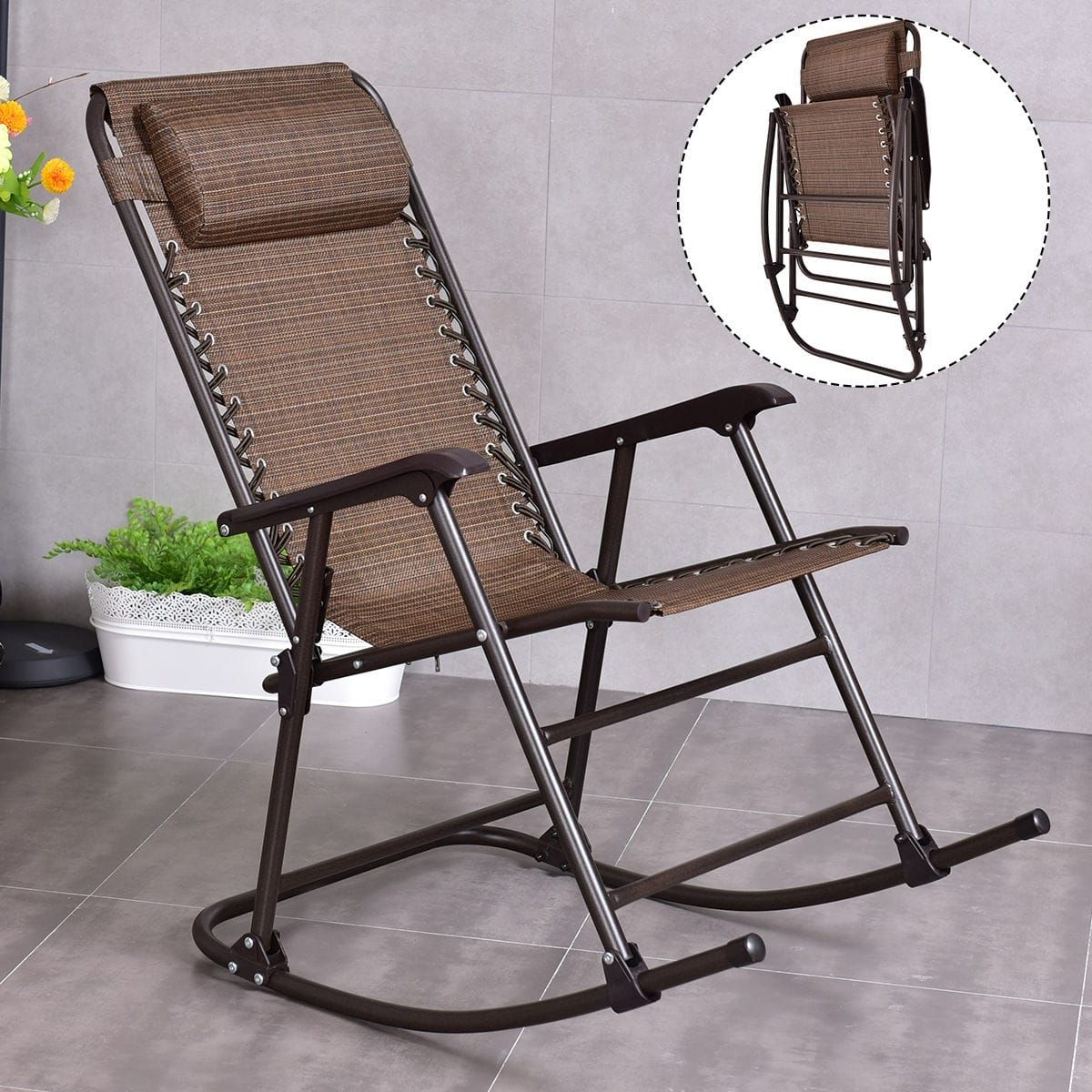 Costway Folding Rocking Chair Porch Patio Indoor Foldable