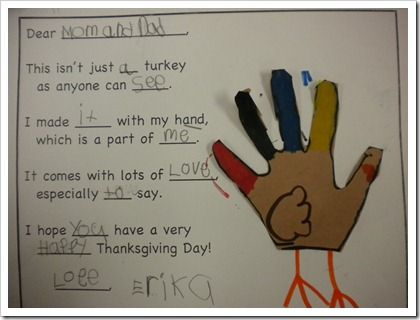 handprint turkey poem w writing practice
