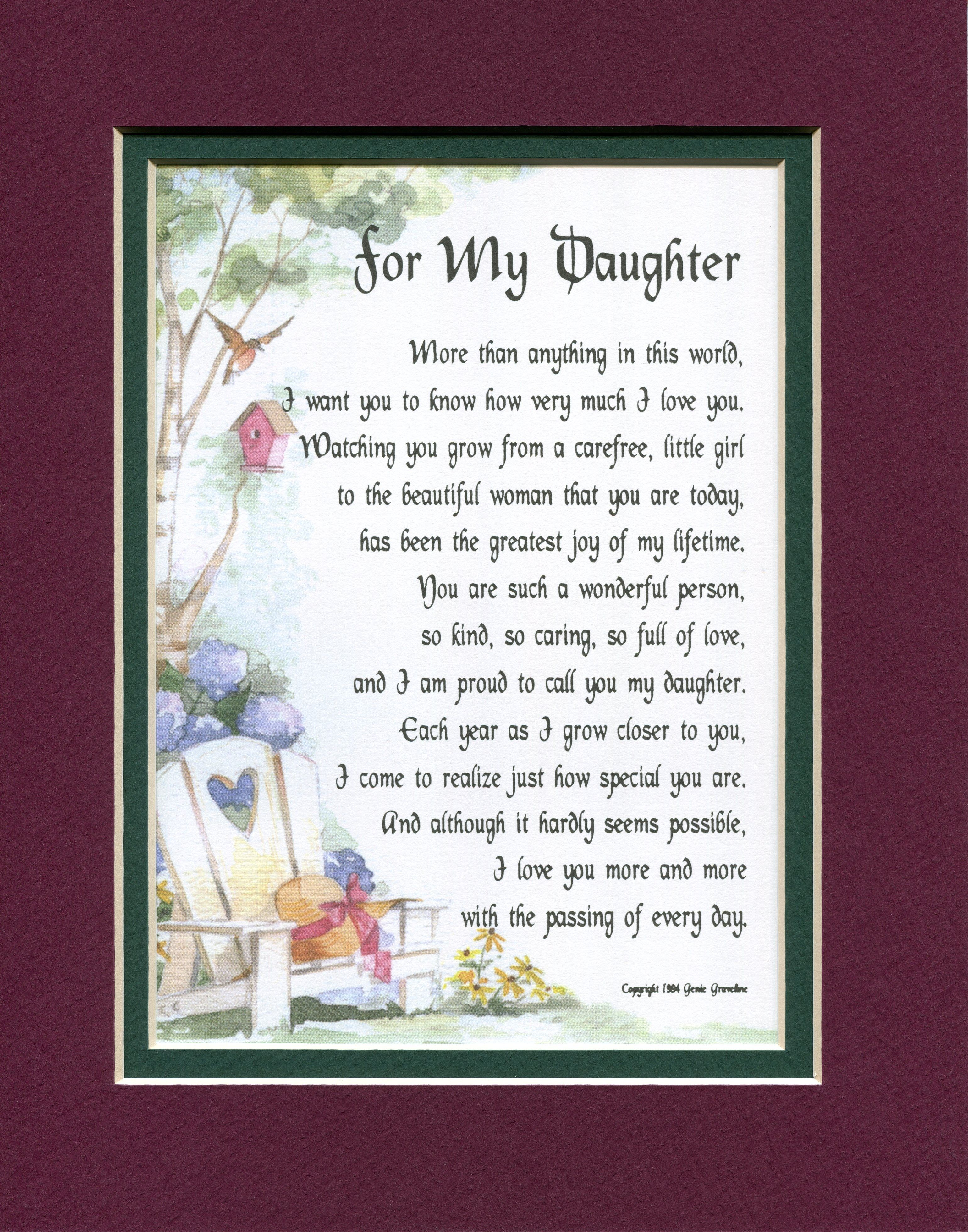 For My Daughter #6  Birthday wishes for daughter, Daughter poems