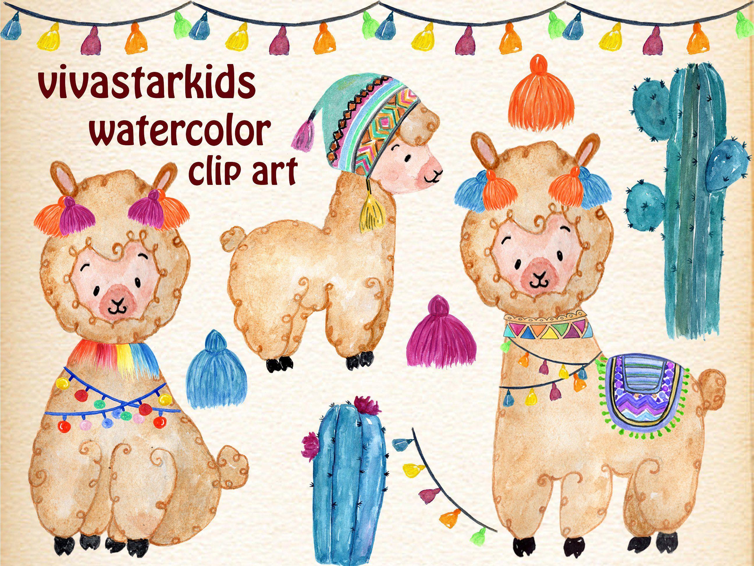 Watercolor Llama Clipart Clip art, Llama clipart, Kids