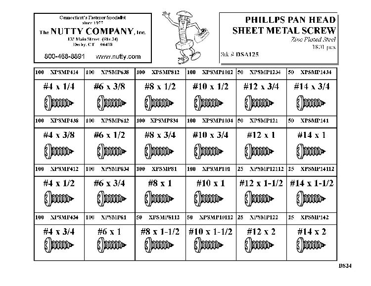 Metal specs phillips pan head sheet self tapping screw assortment chart also rh pinterest