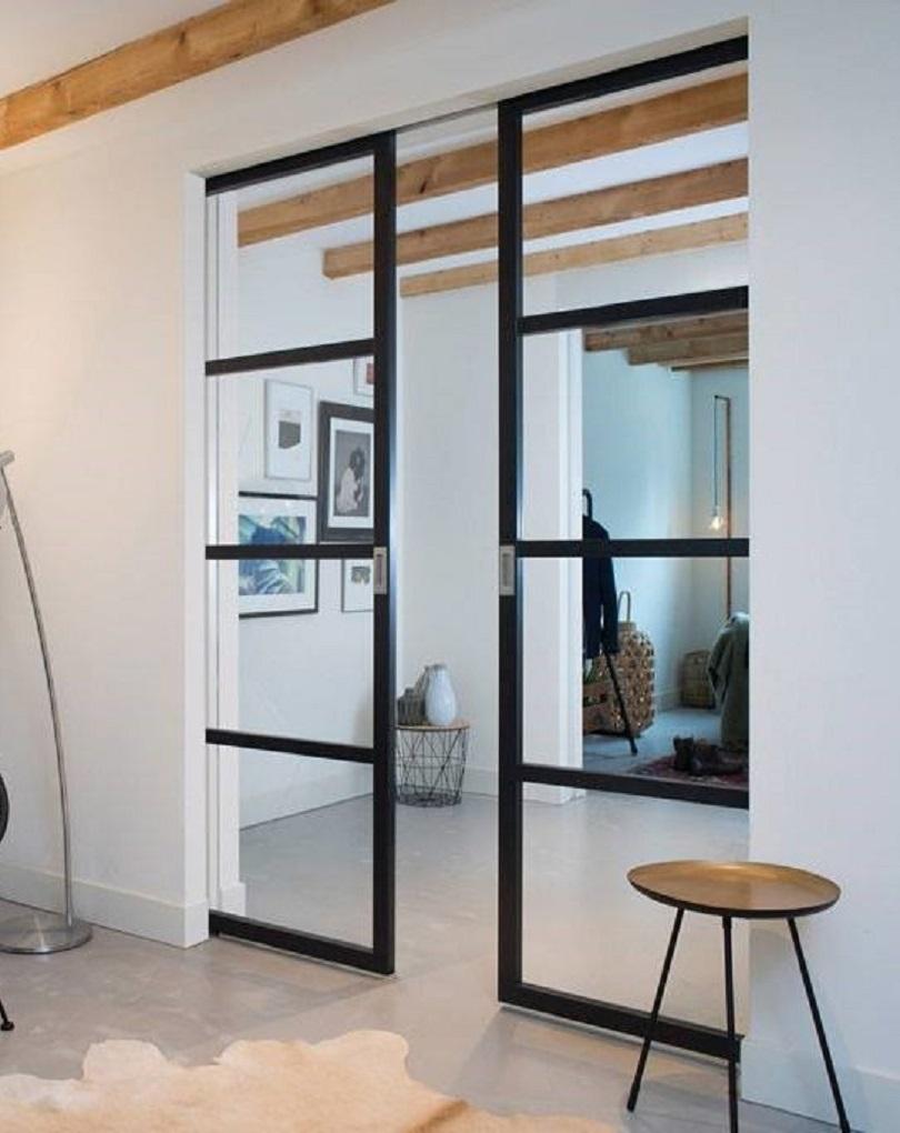 Slim Frame 50 Industrial 4l Single Double Pocket Doors Any Size Colour In 2020 Interior Pocket Doors Living Room Door Sliding Doors Interior