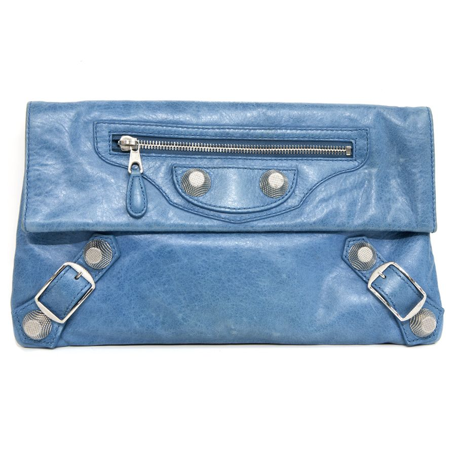 6c8718a83f0c7 Balenciaga Blue Lambskin Giant Silver Envelope Clutch - modaselle ...
