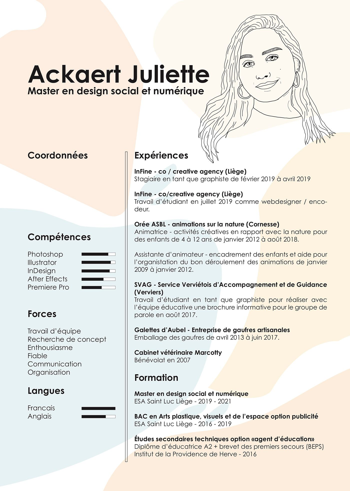 Creative Resume Cv Of Juliette Ackaert Resume Design Creative Graphic Design Resume Cv Design Creative