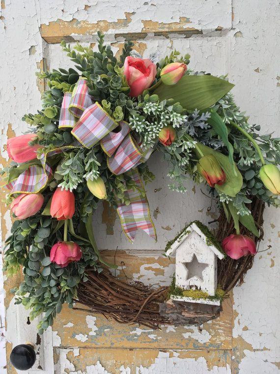 Spring Wreath for Front Door, Easter Wreath, Tulip Wreath, Birdhouse ...