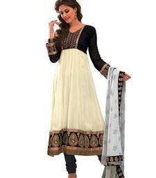 Buy Libas-Off White Unstitched Designer Anarkali salwar suit dress-material online