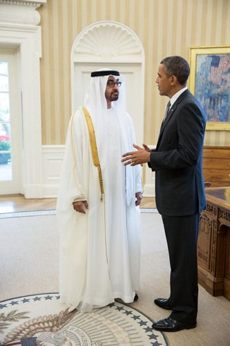 (R-L) President Barack Obama greets the UAE's Sheikh Mohammed bin Zayed Al Nahyan, Crown Prince of Abu Dhabi and Deputy Supreme Commander of the UAE Armed Forces, in the Oval Office, before their lunch, 16 April 2013