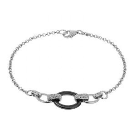 Cleor Bracelet CLEOR Céramique Noire, Oxyde Blanc