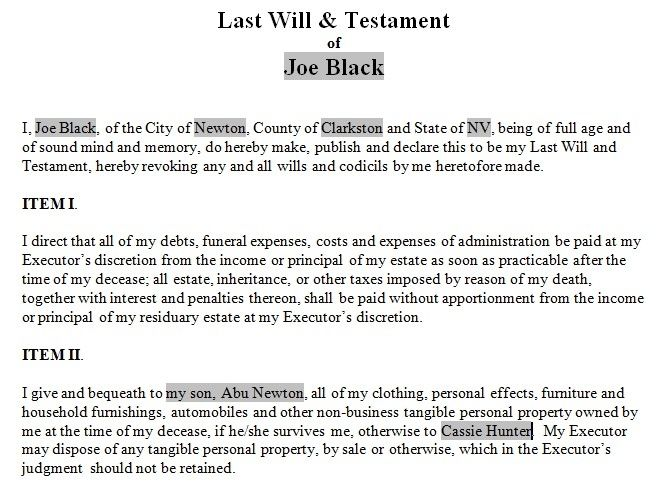 Last Will and Testament template Form Indiana Last will and - last will and testament form