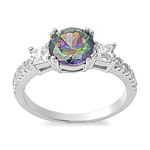CloseoutWarehouse Round Center Bezel Cubic Zirconia Simulated Opal Ring 925 Sterling Silver
