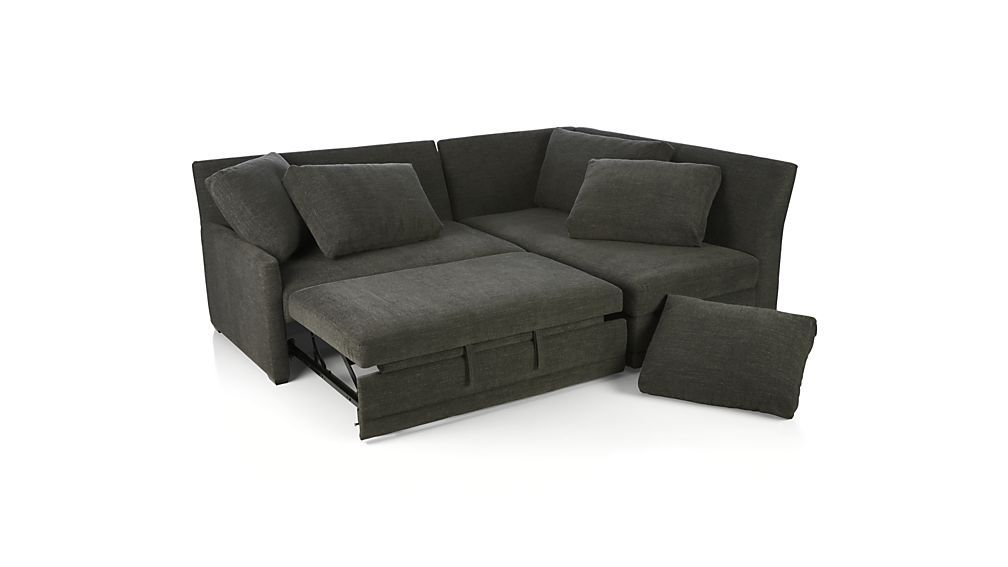 Reston 2 Piece Left Arm Loveseat Trundle Sleeper Sectional Sofa Sectional Sofa Sectional Sleeper Sofa Modern Sofa Sectional
