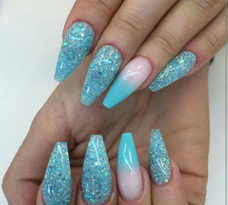 Teal Glitter Coffin Aqua Nails Turquoise Nails Turquoise Nail Art