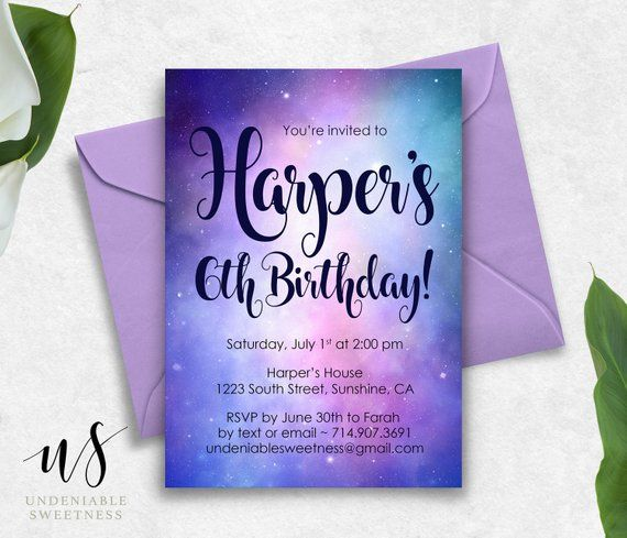 Galaxy Stars Printable Birthday Invitation  Pink  Purple  Outer Space Girls Party Invite  Any Age  Personalized  Digital File Galaxy Stars Printable Birthday Invitation...