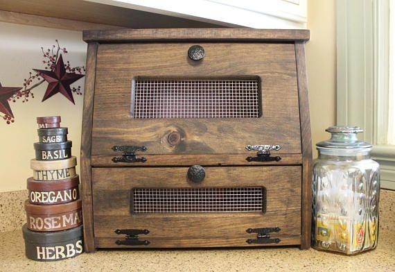 Farmhouse Bread Box Vegetable Or Potato Bin Rustic Wood Storage