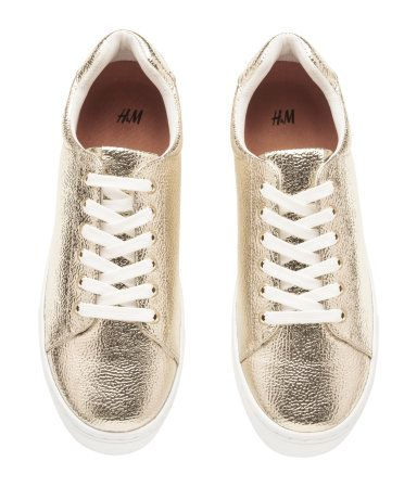 bc72138f985c Gold-colored. Sneakers with lacing at front