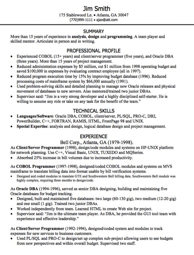 Programming Resume Sample Examples Resume Cv Resume Resume Cv Cobol