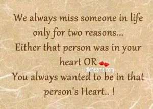missing someone in life