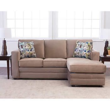Beeson Sleeper Sofa Custom Studio City Fabric Queen Reversible Sectional, Mocha ...