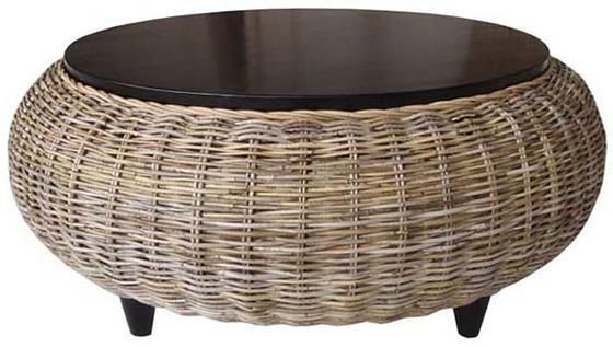 Skylar Ottoman Rattan Round Wicker Coffee Table Tables Indoor Furniture