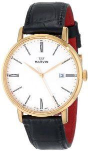 Marvin Men's M025.53.22.74 Origin White Dial Rose Gold Plated Black Crocodile Print Strap Watch