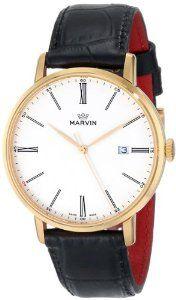 Marvin Men's M025.53.22.74 Origin White Dial Rose Gold Plated Black Crocodile Print Strap Watch