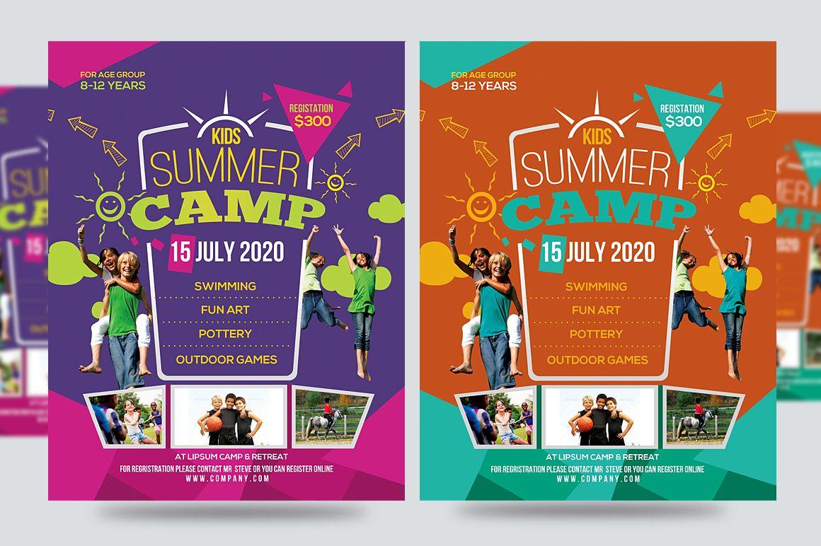 Kids Summer Camp Flyer V1 Brosur Desain Grafis Desain