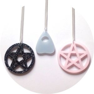Image of Pentagram and Ouija board planchette necklaces