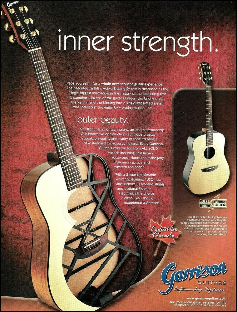 Garrison Acoustic Guitar W Griffiths Active Bracing X Ray Ad 2000 Advertisement Garrison In 2021 Acoustic Guitar Garrison Guitar