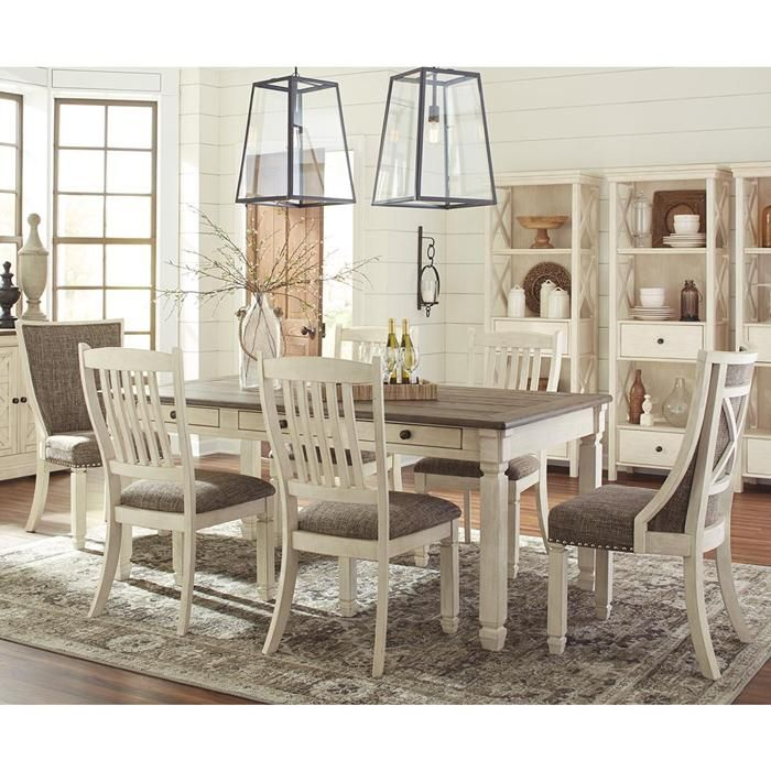 Bolanburg 7 Piece Dining Set With Host Chairs In Antique White And Weathered Oak